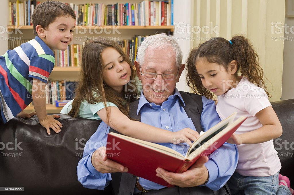 story time with grandpa stock photo