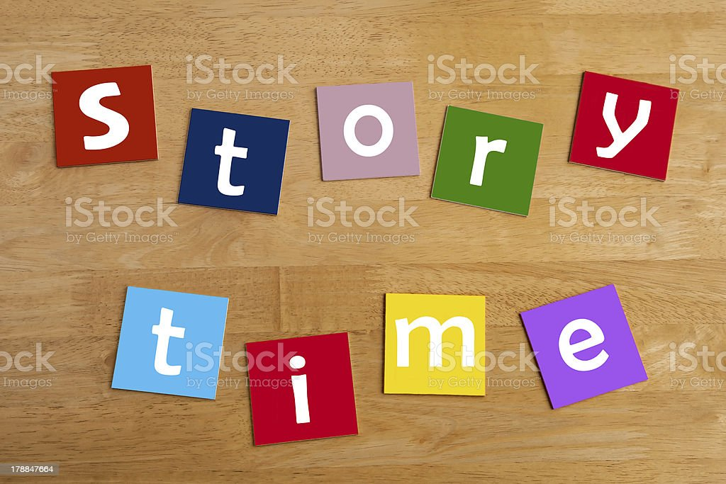 story time - words for school children. stock photo