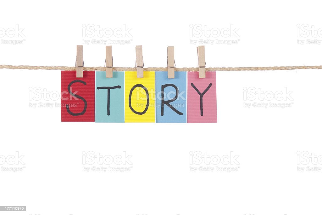 Story, Wooden peg  and colorful words stock photo