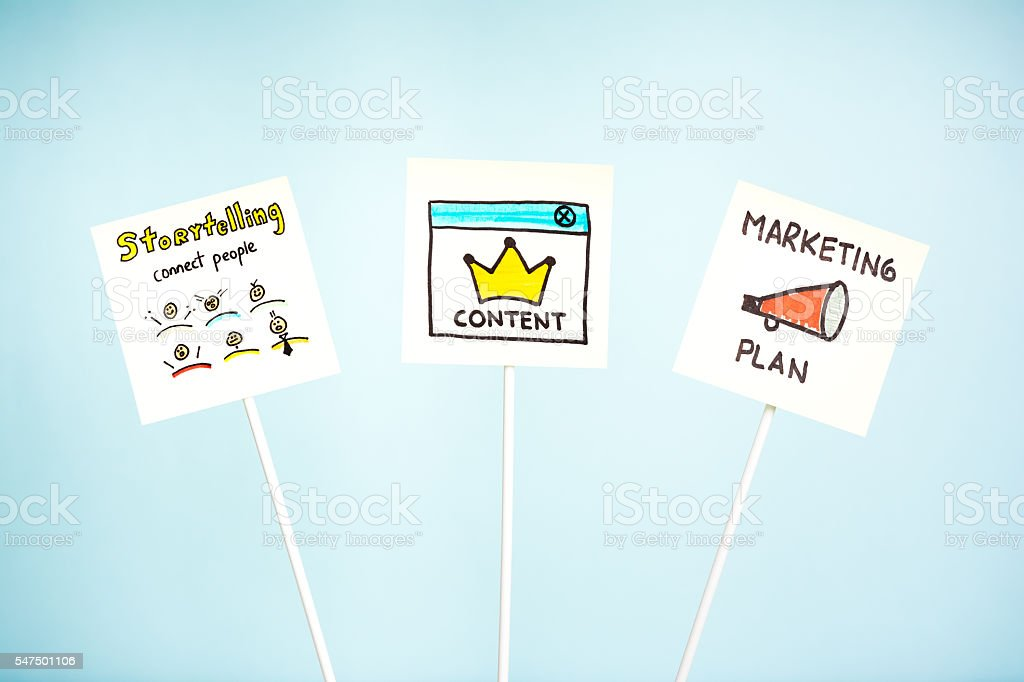 Storytelling, content and marketing plan, signpost, blue background stock photo