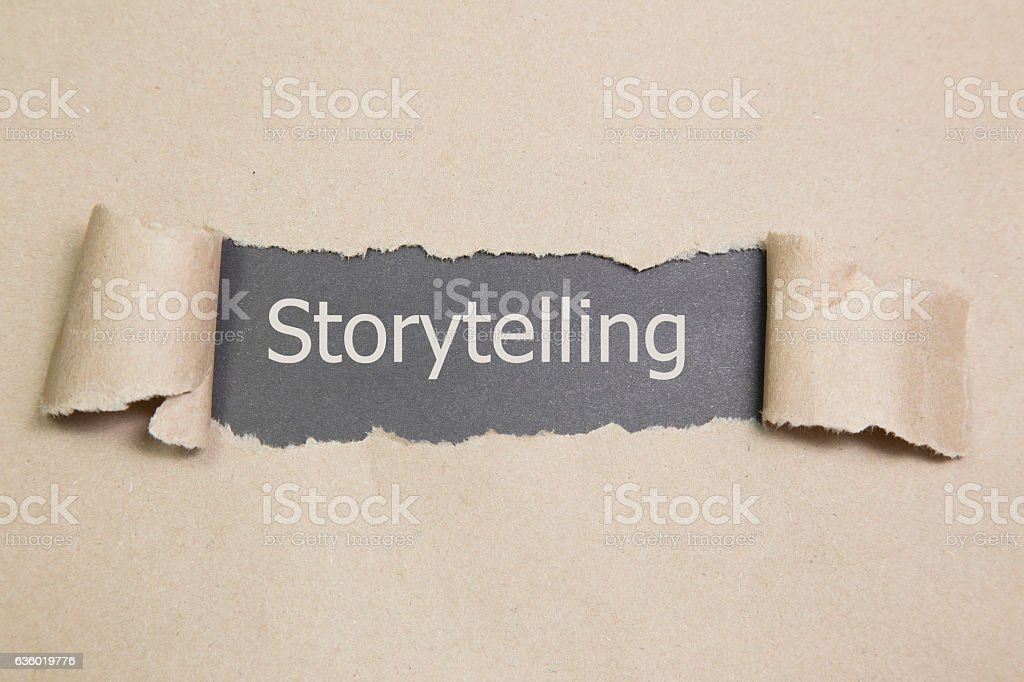 Storytelling written under torn paper vector art illustration