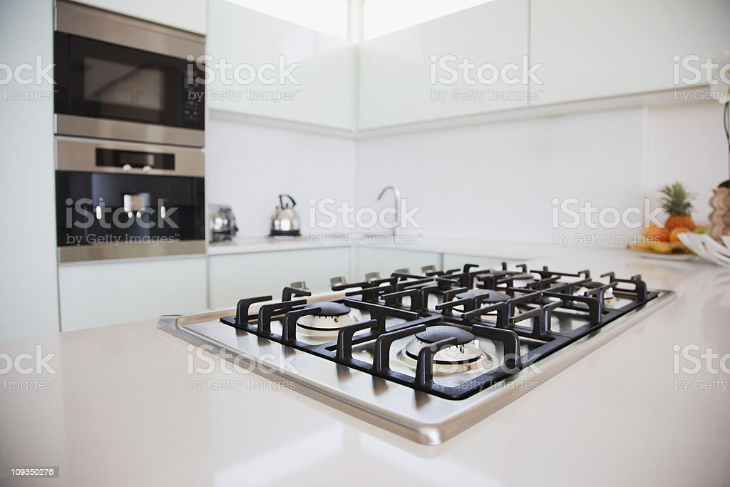 Stove and oven in modern kitchen stock photo