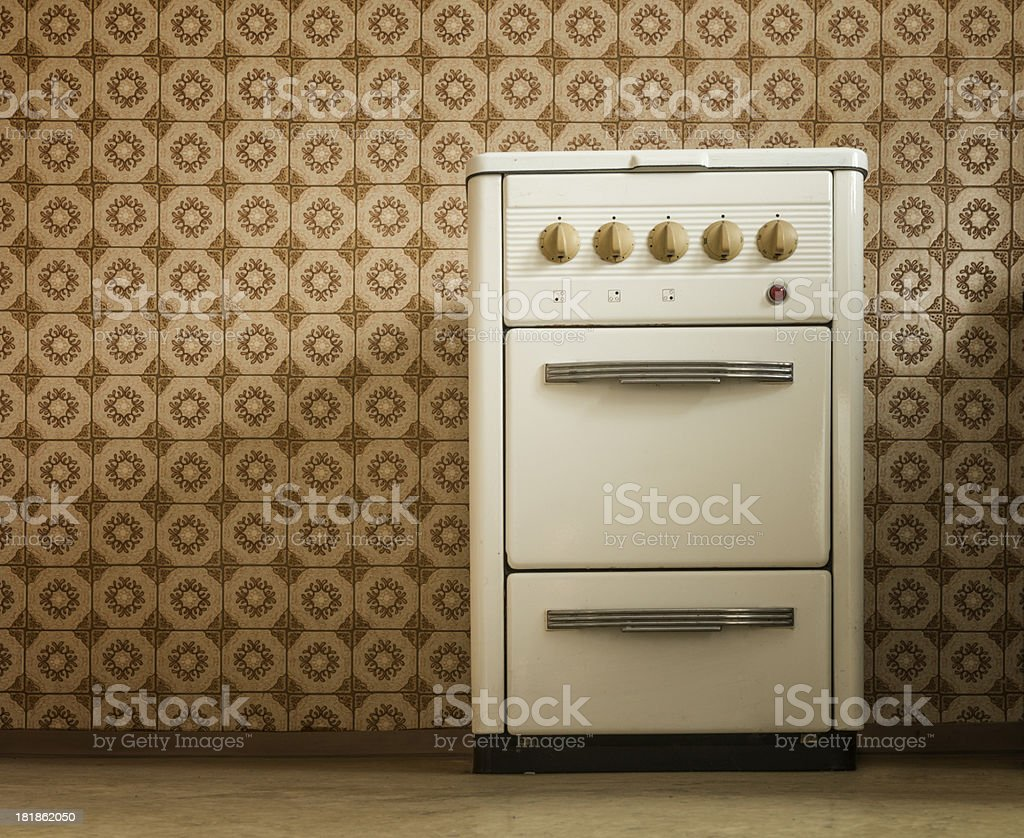stove in old kitchen stock photo