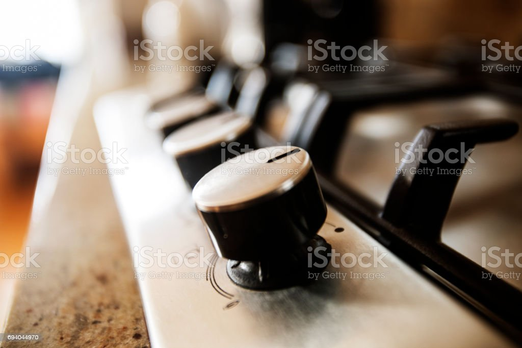 Stove knob in the kithchen stock photo