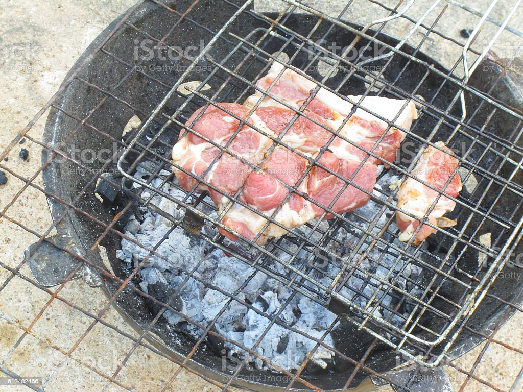 Stove use charcoal for grill food(meat, beef, veal, pork) stock photo