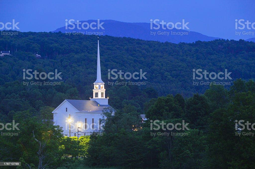 Stowe Community Church at dusk stock photo