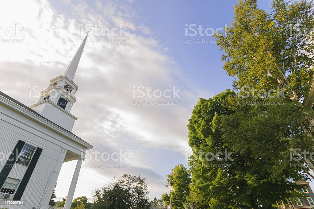 Stowe Community Church in late summer. stock photo