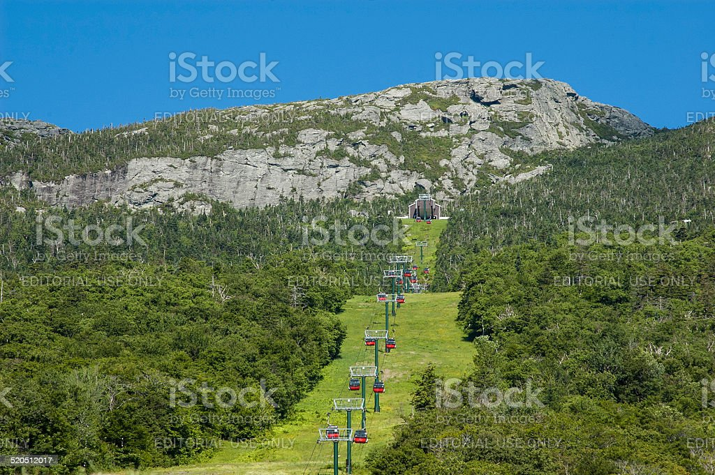 Stowe Gondola on Mt. Mansfield stock photo