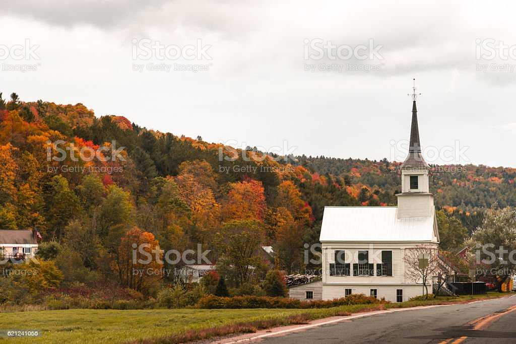 Stowe in Vermont during the fall season stock photo
