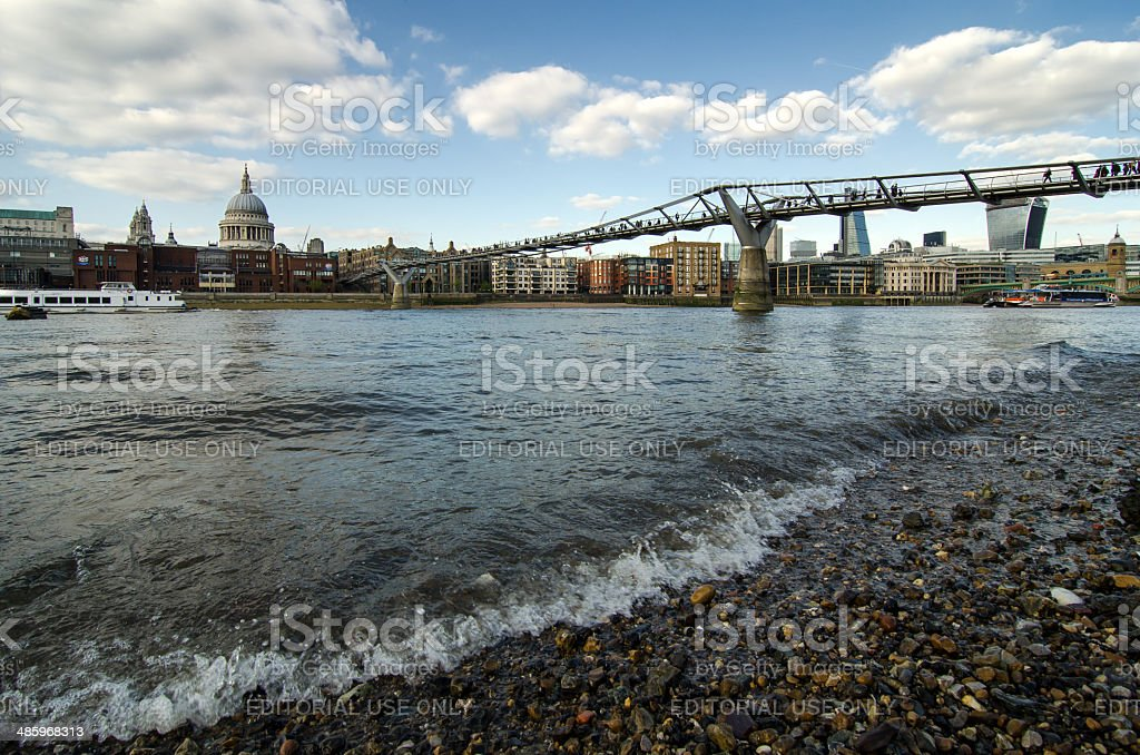 St.Paul and Millenium Bridge on River Thames stock photo