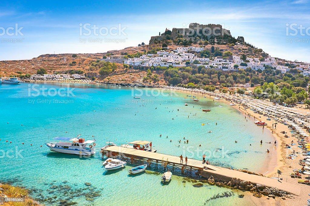 St.Paul's Bay, Rhodes Island, Greece stock photo