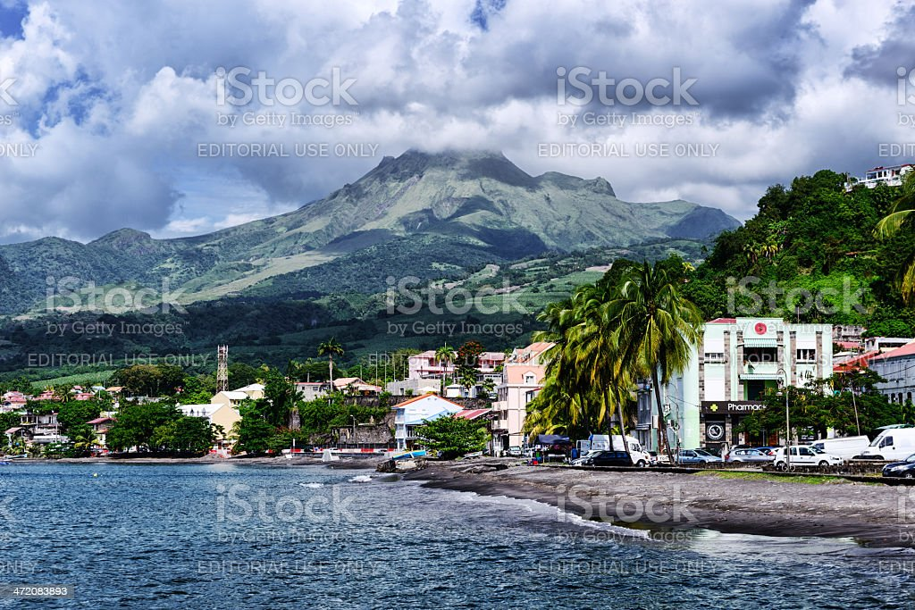 St.-Pierre and Mount Pelee, Martinique royalty-free stock photo