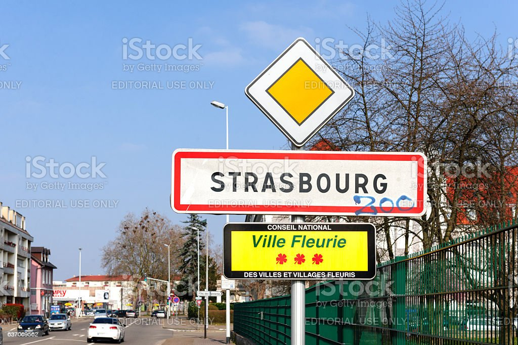 Strabourg Ville Fleurie sign in city stock photo