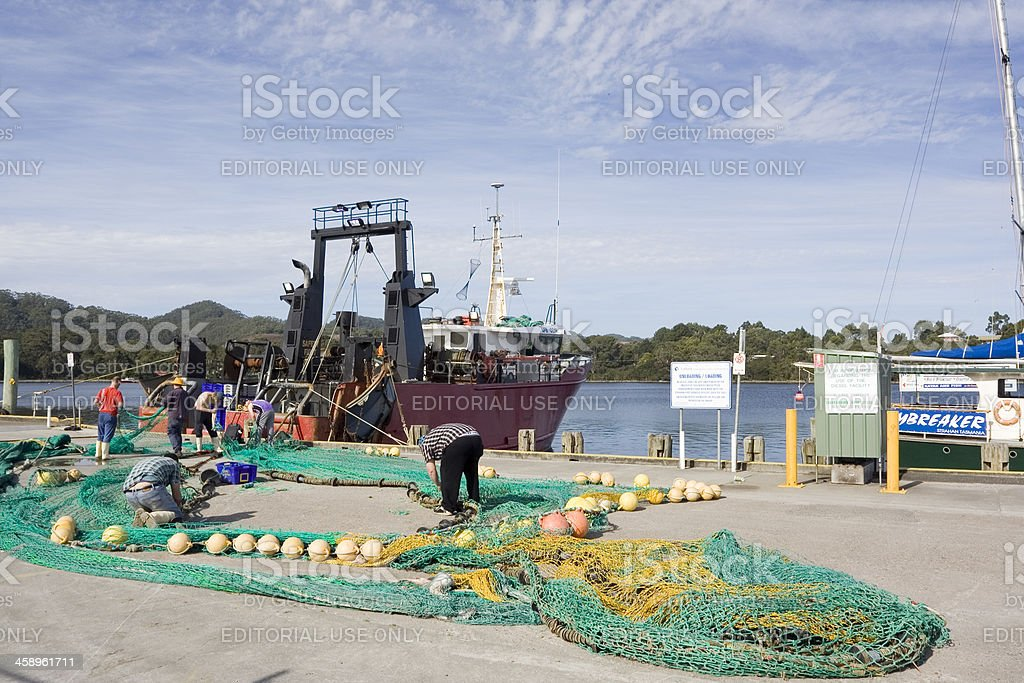Strahan Fishing Nets stock photo