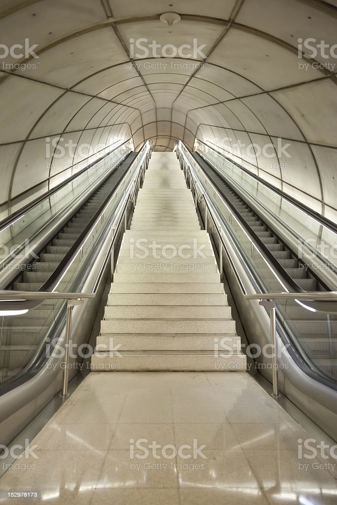 straigh large staircase and scalators royalty-free stock photo