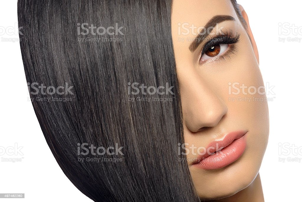 straight and healthy hair stock photo