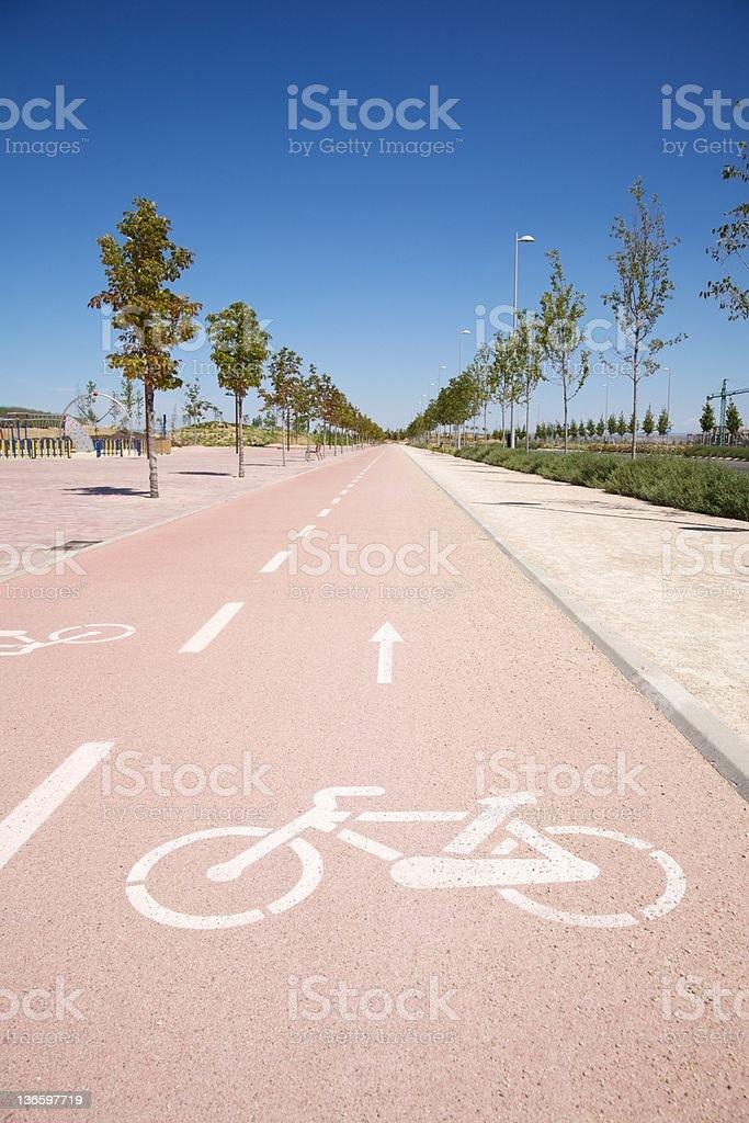 straight bikeway royalty-free stock photo