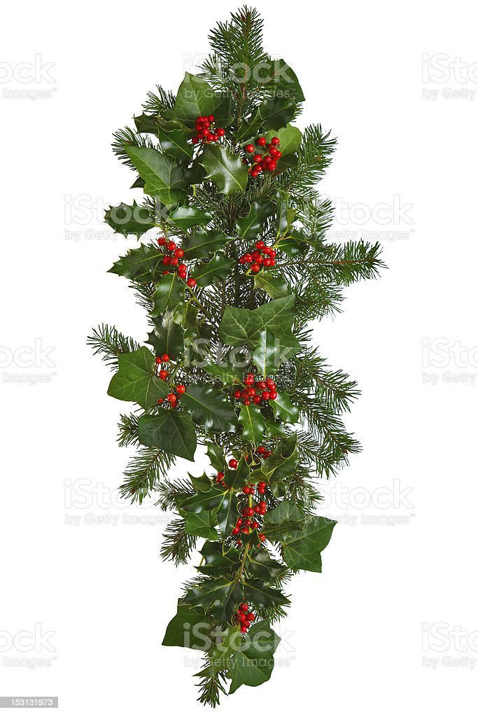 Straight Christmas garland isolated. stock photo