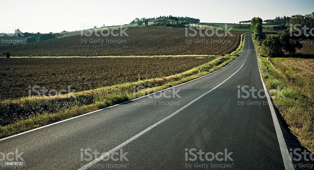 Straight Country Road In Val Di Chiana, Tuscany royalty-free stock photo