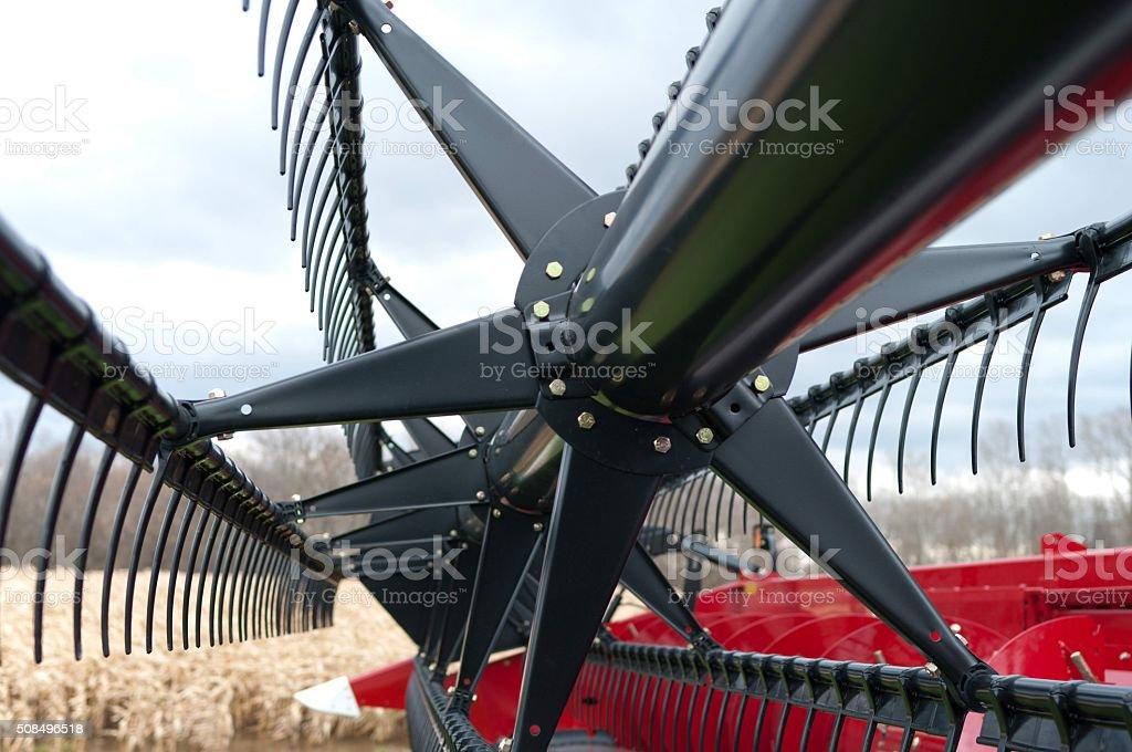 Straight Cut Grain Head on Combine stock photo