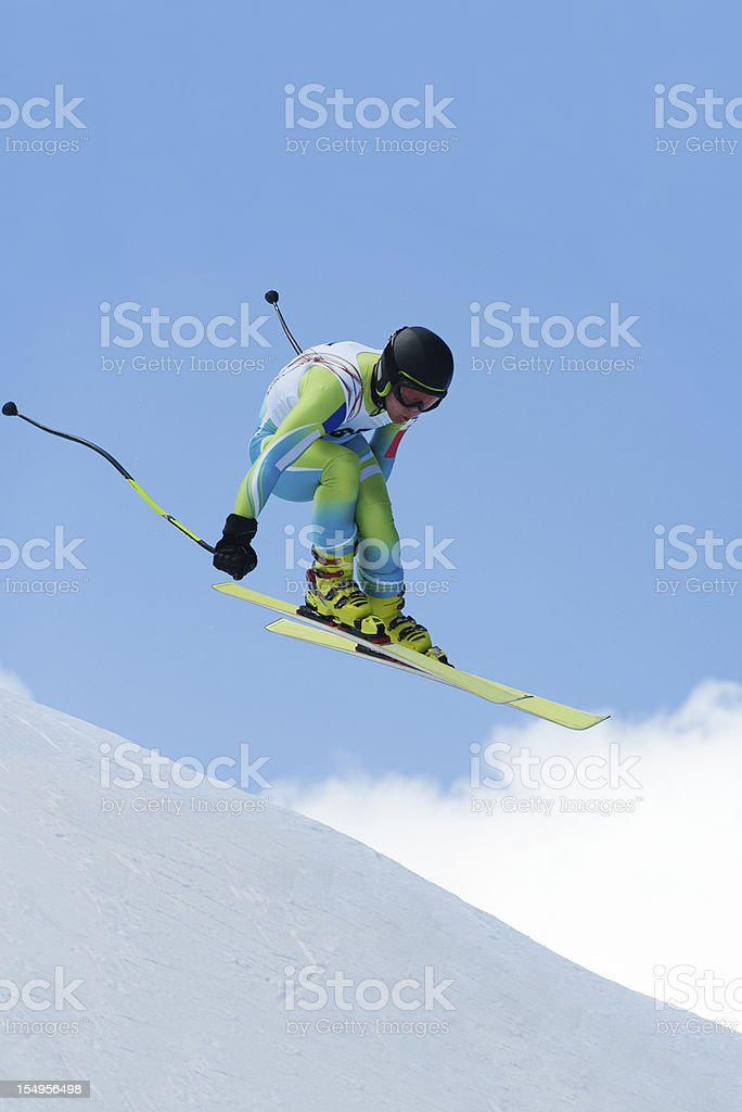 Straight downhill race stock photo