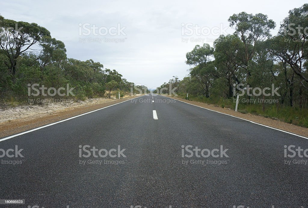 Straight, Empty Road in Victoria, Australia royalty-free stock photo
