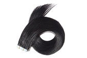 Straight jet balck adhesive tape in human hair extensions