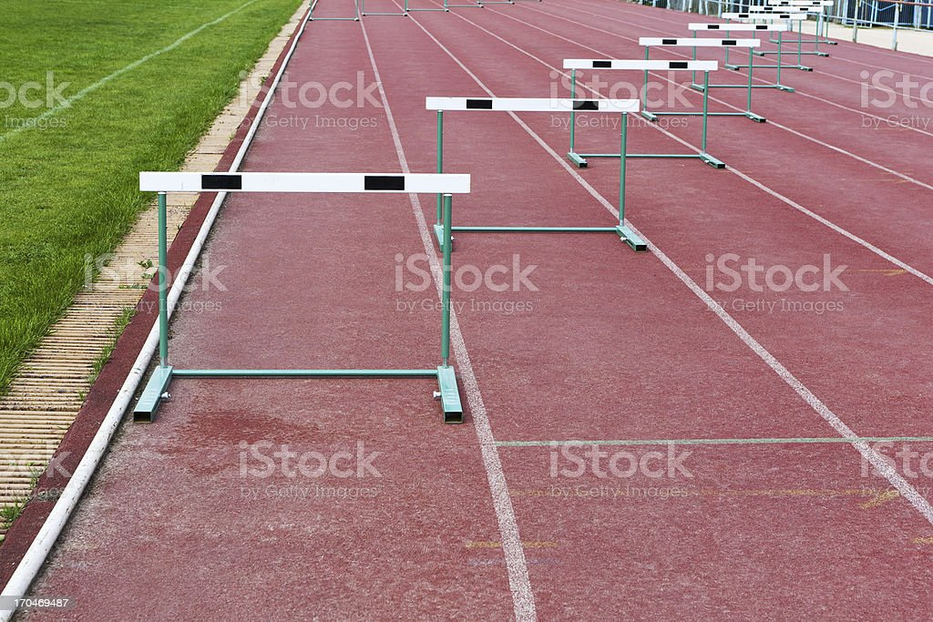 straight lanes of running track stock photo