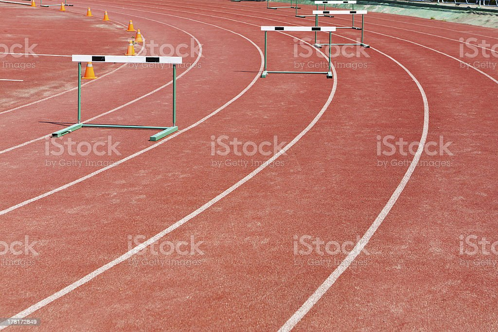 straight lanes of running track royalty-free stock photo