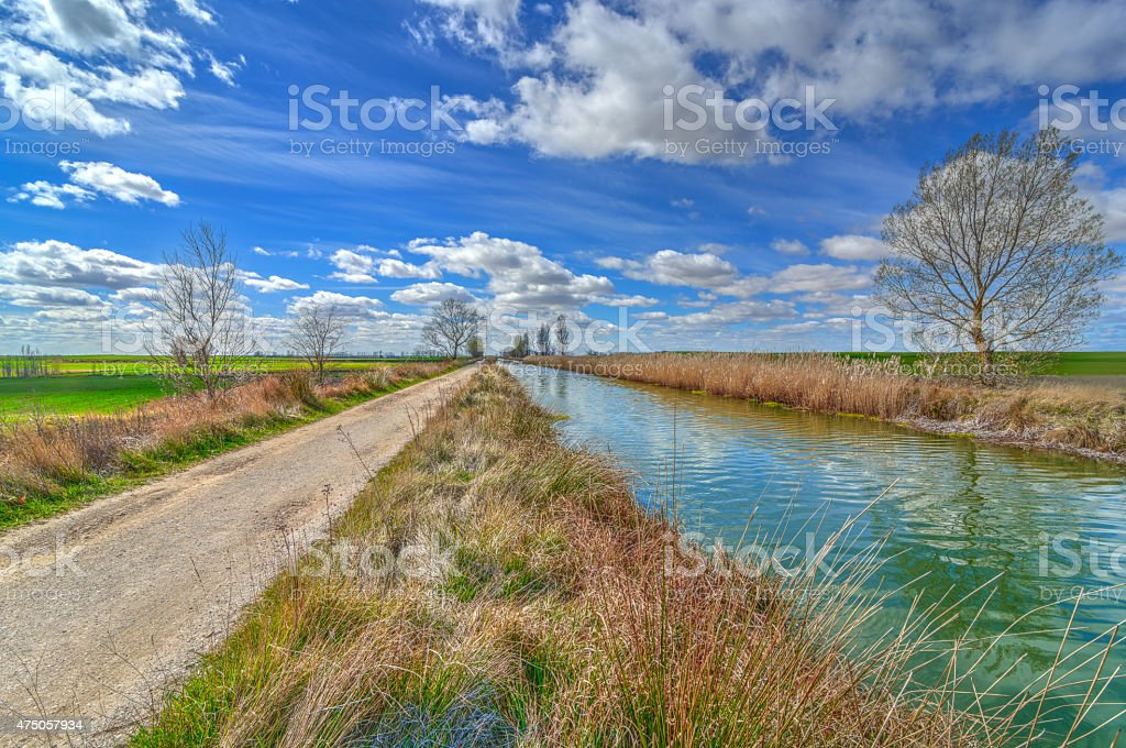 Straight lines in the canal. stock photo