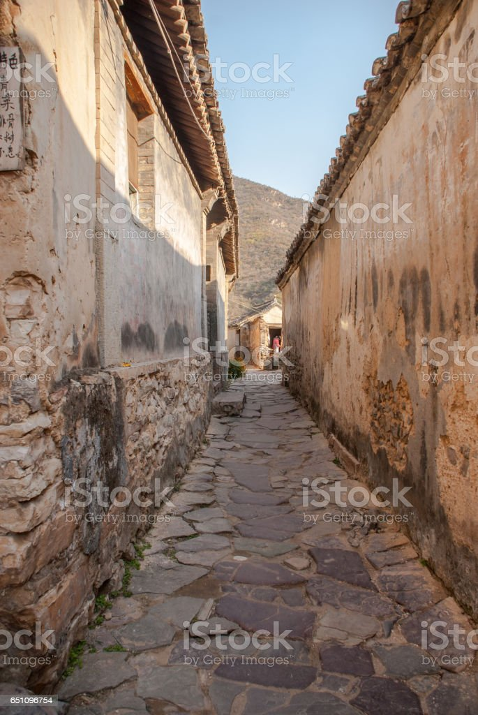 Straight narrow streets of the ancient Chinese village stock photo