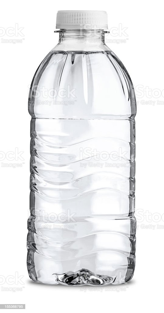 Straight On View of Filled Plastic Water Bottle Isolated royalty-free stock photo