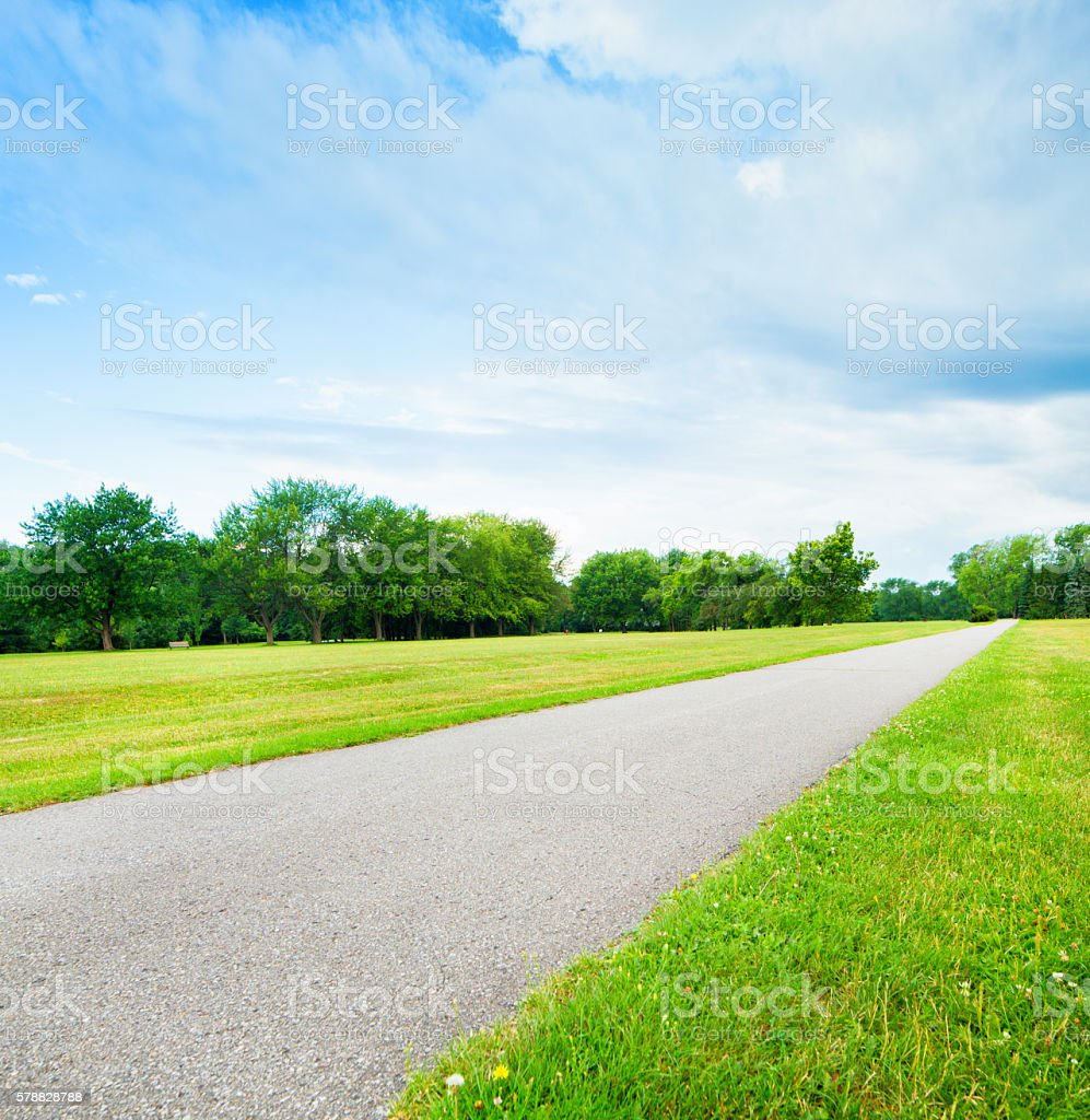 Straight paved pathway through park in Summer stock photo