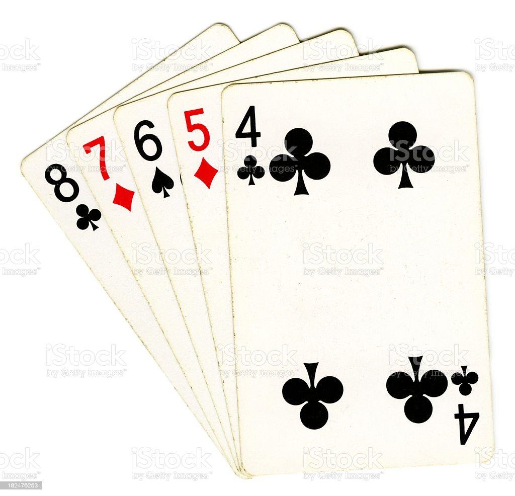 Straight Poker Hand royalty-free stock photo