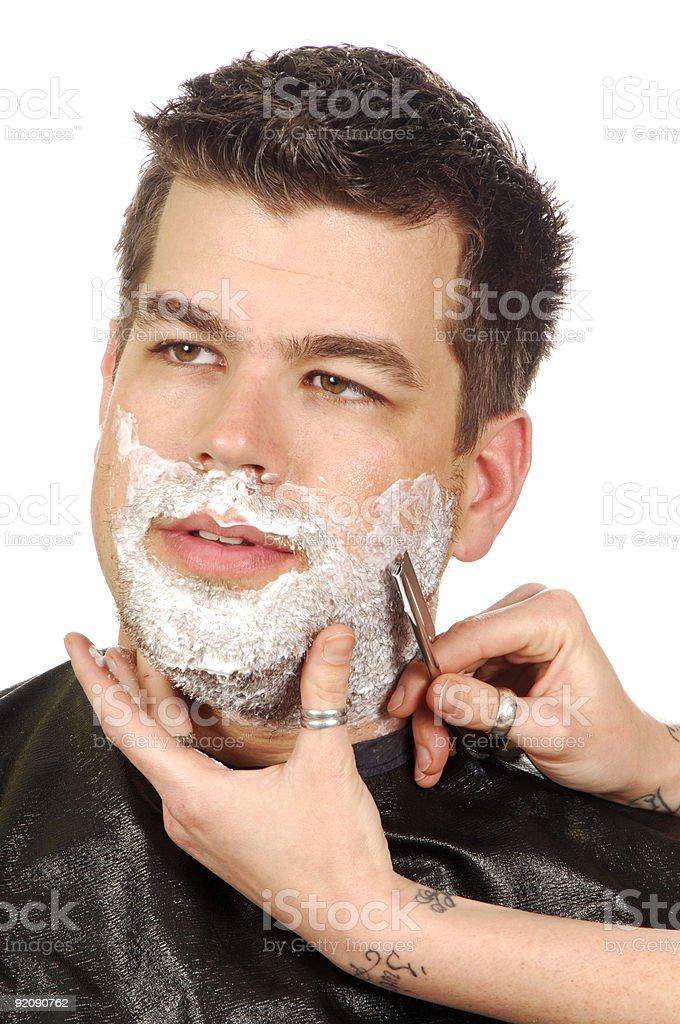 Straight Razor Close Shave royalty-free stock photo