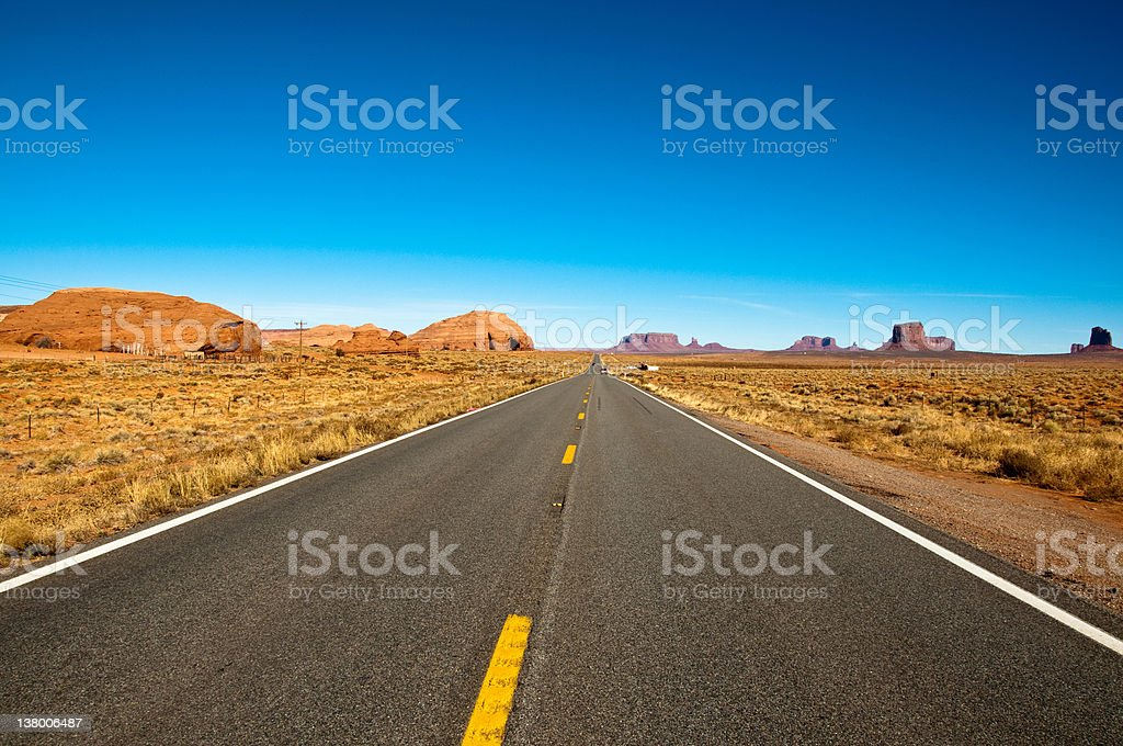 Straight road in the desert stock photo