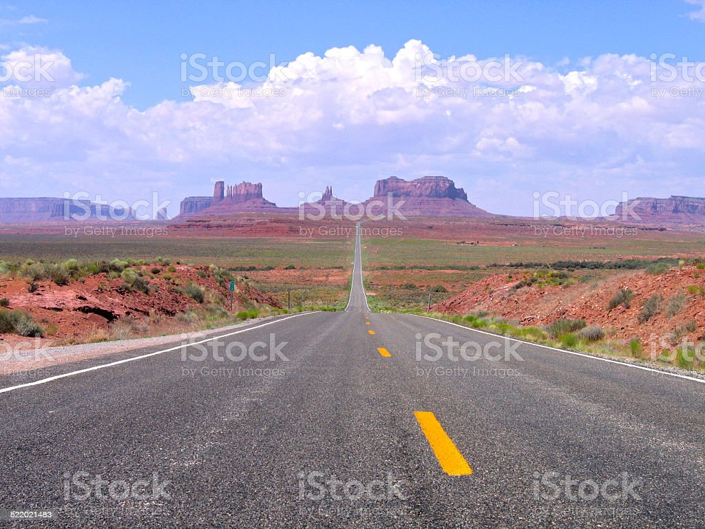Straight road in Utah and Arizona, Monument Valley Navajo Tribal stock photo