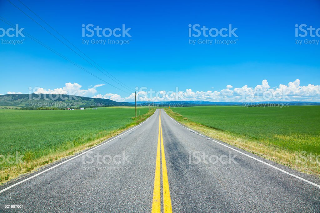 Straight road through the great plains of Idaho stock photo