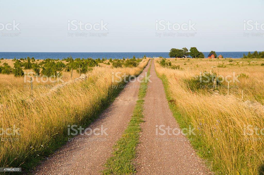 Straight road to the coast stock photo