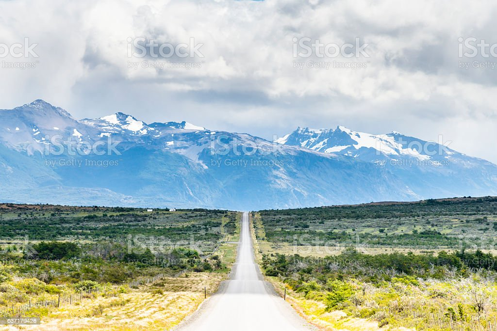 Straight road to Torres del Paine National Park, Patagonia, Chile stock photo