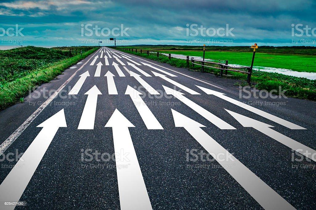 straight road with arrow stock photo