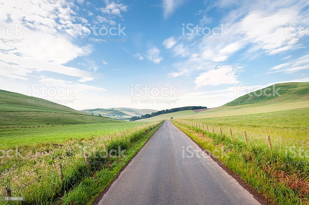 Straight Scottish Country Road stock photo
