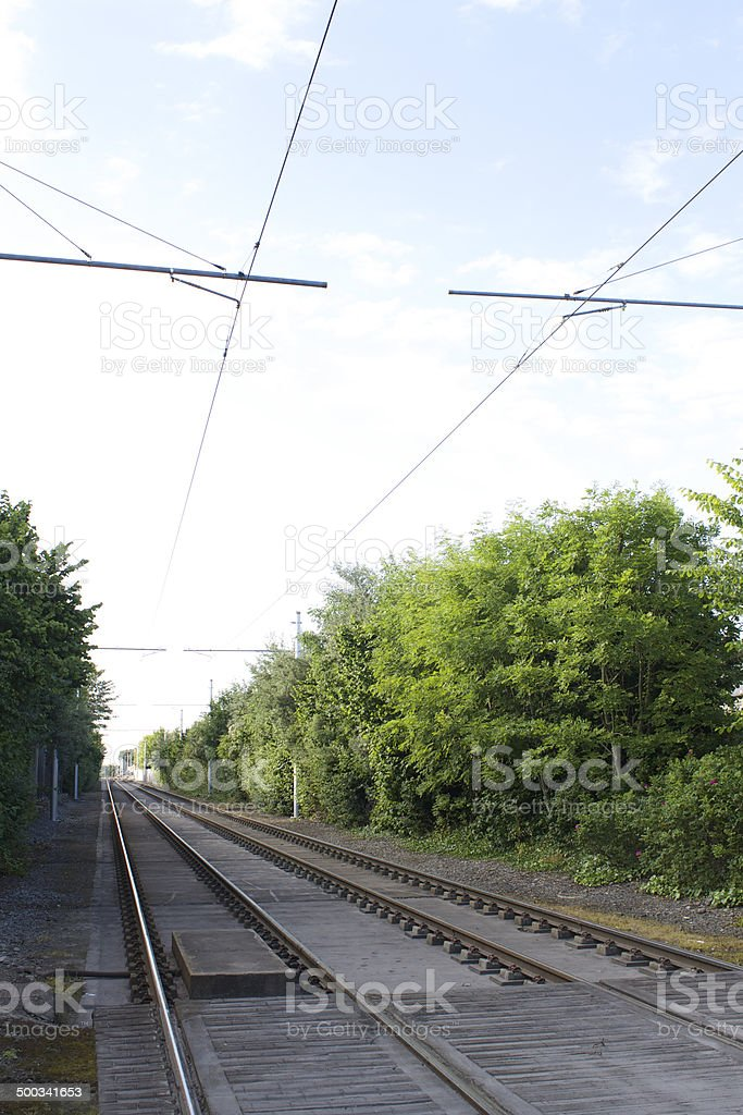 Straight tram tracks on a Lovely Day stock photo