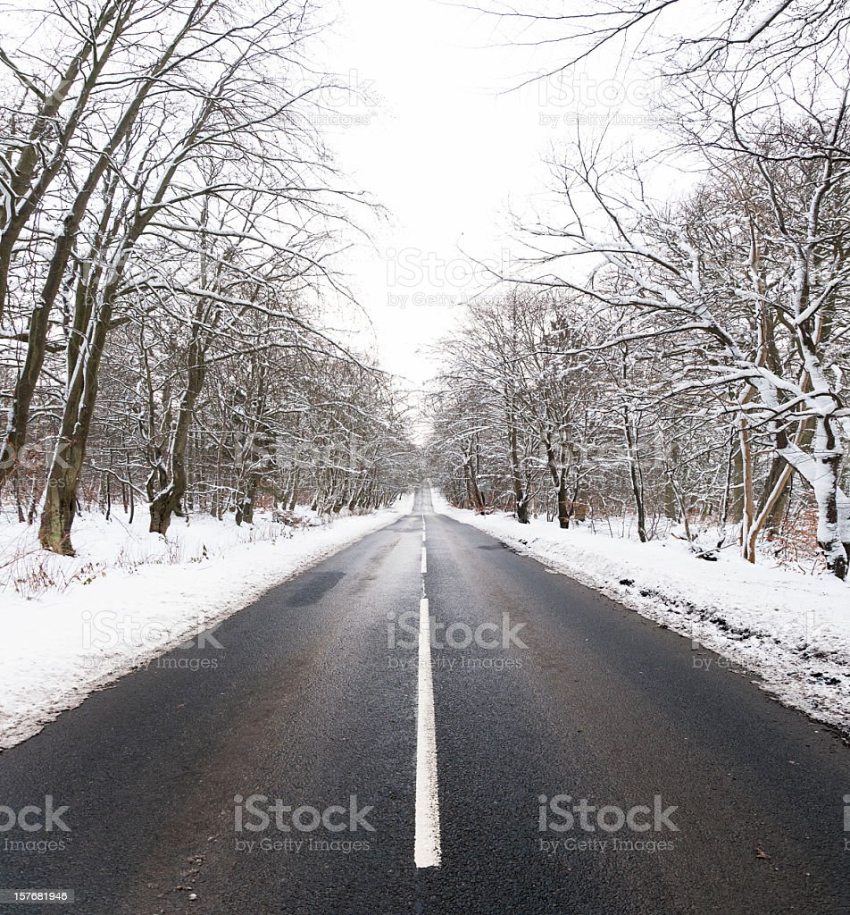 Straight Winter Road stock photo