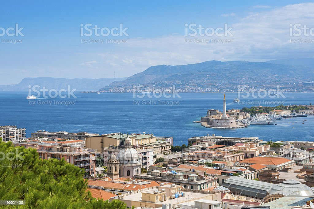 Strait between Sicily and Italy stock photo