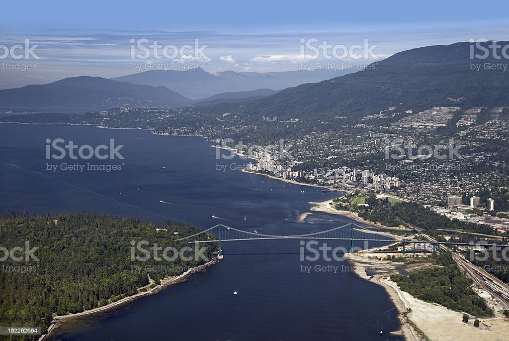 Strait of Georgia and West Vancouver stock photo