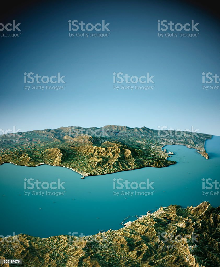 Strait Of Gibraltar 3D View South-North Natural Color stock photo