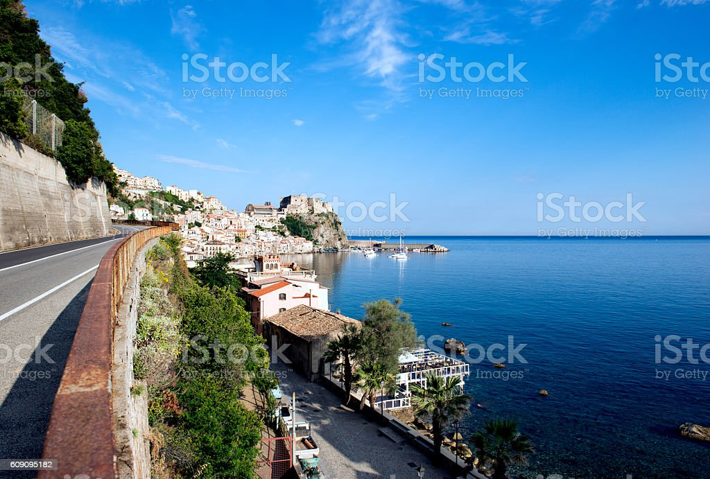 Strait of Messina and Sicily seen from Calabria stock photo