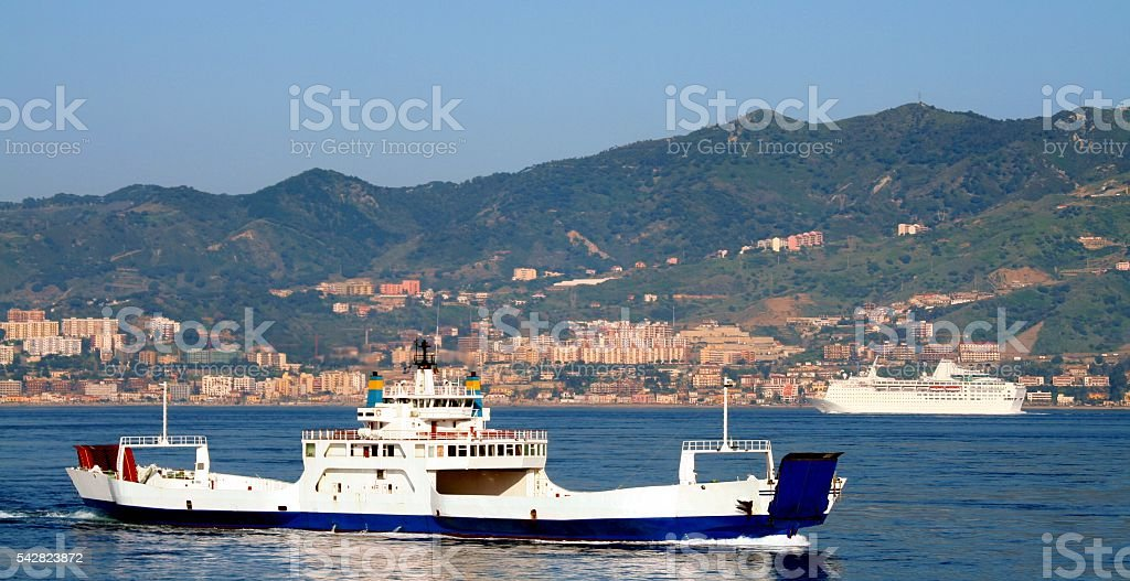 Strait of Messina between Sicily and Calabria Italy Ferry ship stock photo
