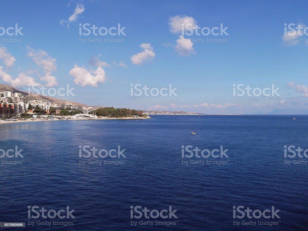 Lo Stretto di Messina stock photo